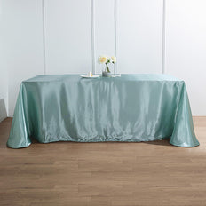 "90""x156"" Dusty Sage Satin Rectangular Tablecloth"