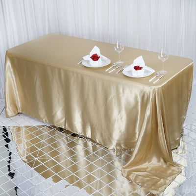 "90x132"" Champagne Satin Rectangular Tablecloth"