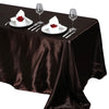 "90x132"" Chocolate Satin Rectangular Tablecloth"