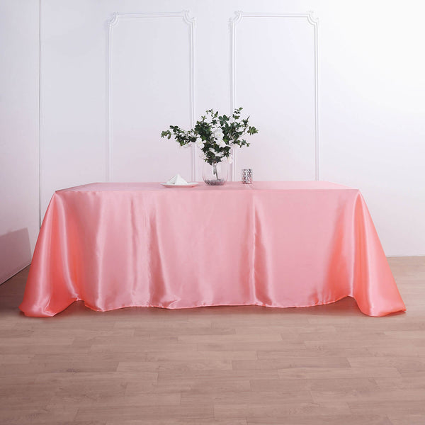 "90""x132"" Coral Satin Rectangular Tablecloth"