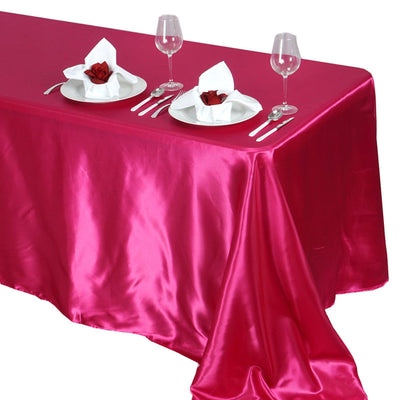 90x132 Fushia Satin Rectangular Tablecloth