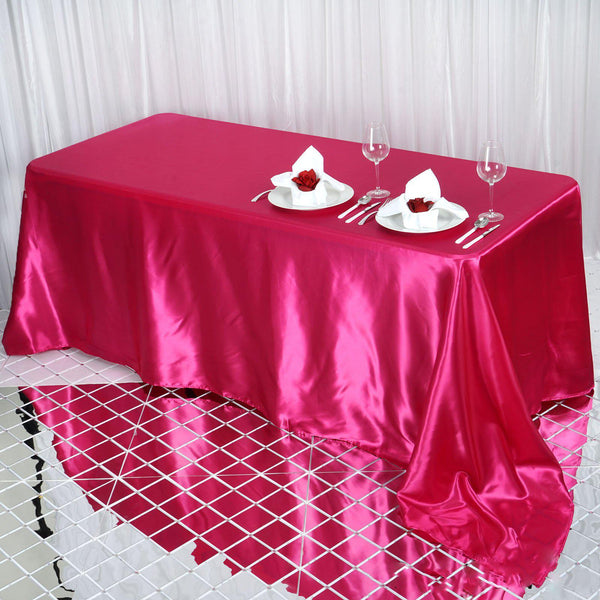 "90""x132"" Fushia Satin Rectangular Tablecloth"