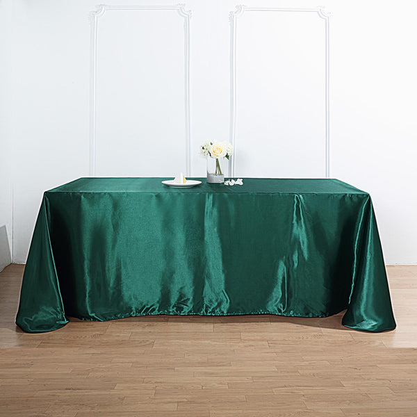 "90""x132"" Hunter Emerald Green Satin Rectangular Tablecloth"