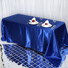 90x132 Royal Blue Satin Rectangular Tablecloth