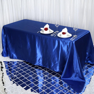 "90x132"" Royal Blue Satin Rectangular Tablecloth"