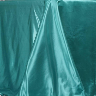90x132 Turquoise Satin Rectangular Tablecloth#whtbkgd