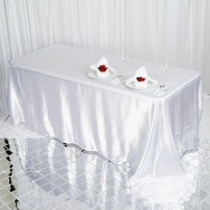 90x132 White Satin Rectangular Tablecloth