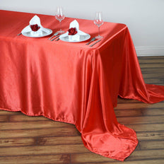 90x156 Coral Red Satin Rectangular Tablecloth