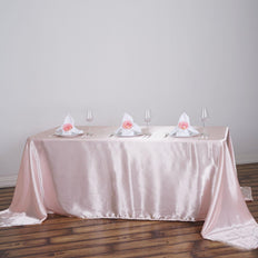 90x156 Satin Rectangular Tablecloth - Rose Gold | Blush