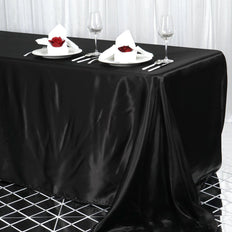 90x156 Black Satin Rectangular Tablecloth