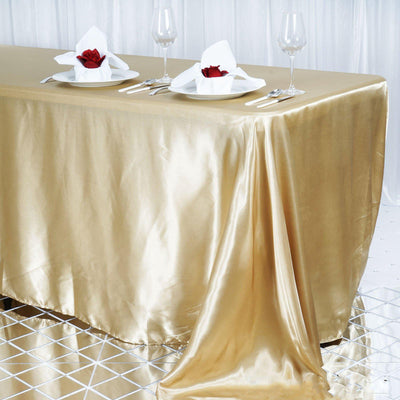 "90x156"" Champagne Satin Rectangular Tablecloth"