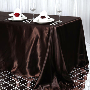 "90x156"" Chocolate Satin Rectangular Tablecloth"