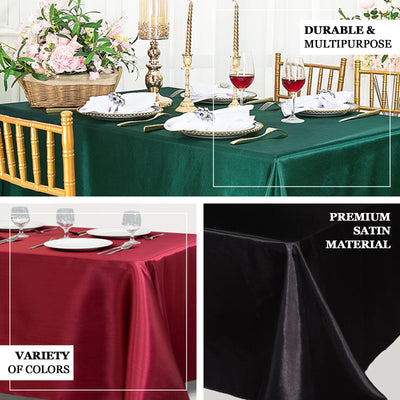 "90""x156"" Dusty Rose Satin Rectangular Tablecloth"