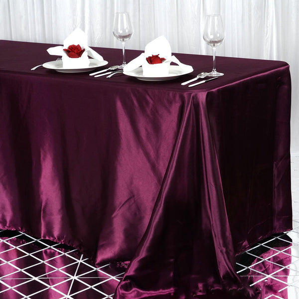 "90""x156"" Eggplant Satin Rectangular Tablecloth"