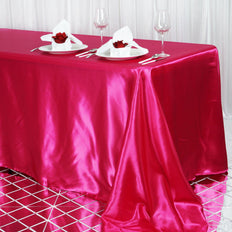90x156 Fushia Satin Rectangular Tablecloth