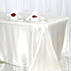 90x156 Ivory Satin Rectangular Tablecloth