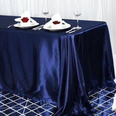 90x156 Navy Blue Satin Rectangular Tablecloth