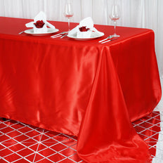 90x156 Red Satin Rectangular Tablecloth