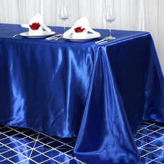 90x156 Royal Blue Satin Rectangular Tablecloth