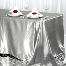90x156 Silver Satin Rectangular Tablecloth