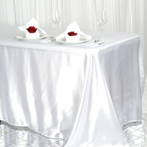 90x156 White Satin Rectangular Tablecloth