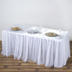 6FT Rectangular White 3 Layer -  Skirted Tablecloth - Fitted Tulle Tutu Satin Pleated Table Skirt