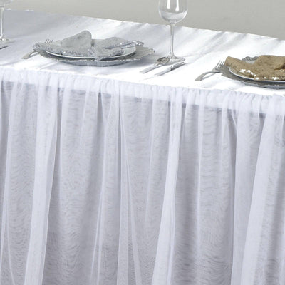 8FT Satin With 3 Layer Tulle Wholesale Wedding Banquet Event Rectangular Table Top - White