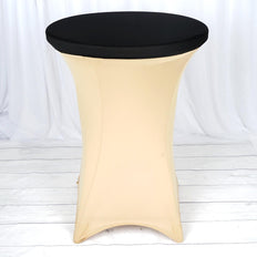 Black Spandex Cocktail Table Top Stretch Cover