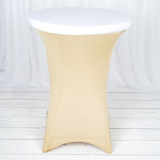 White Spandex Cocktail Table Top Stretch Cover