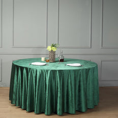 "120"" Premium Velvet Round Tablecloth - Hunter Emerald Green"