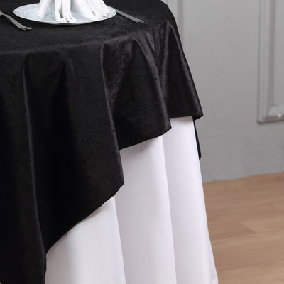 54'' x 54'' | Black | Premium Velvet Square Table Overlay