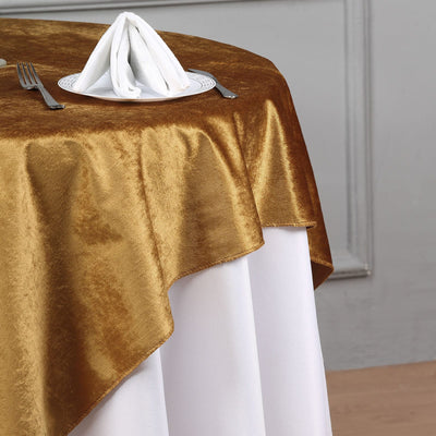 54'' x 54'' | Gold | Premium Velvet Square Tablecloth