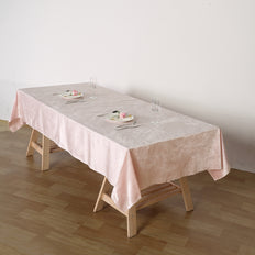 60inches x 102inches | Blush | Rose Gold | Premium Velvet Rectangle Tablecloth