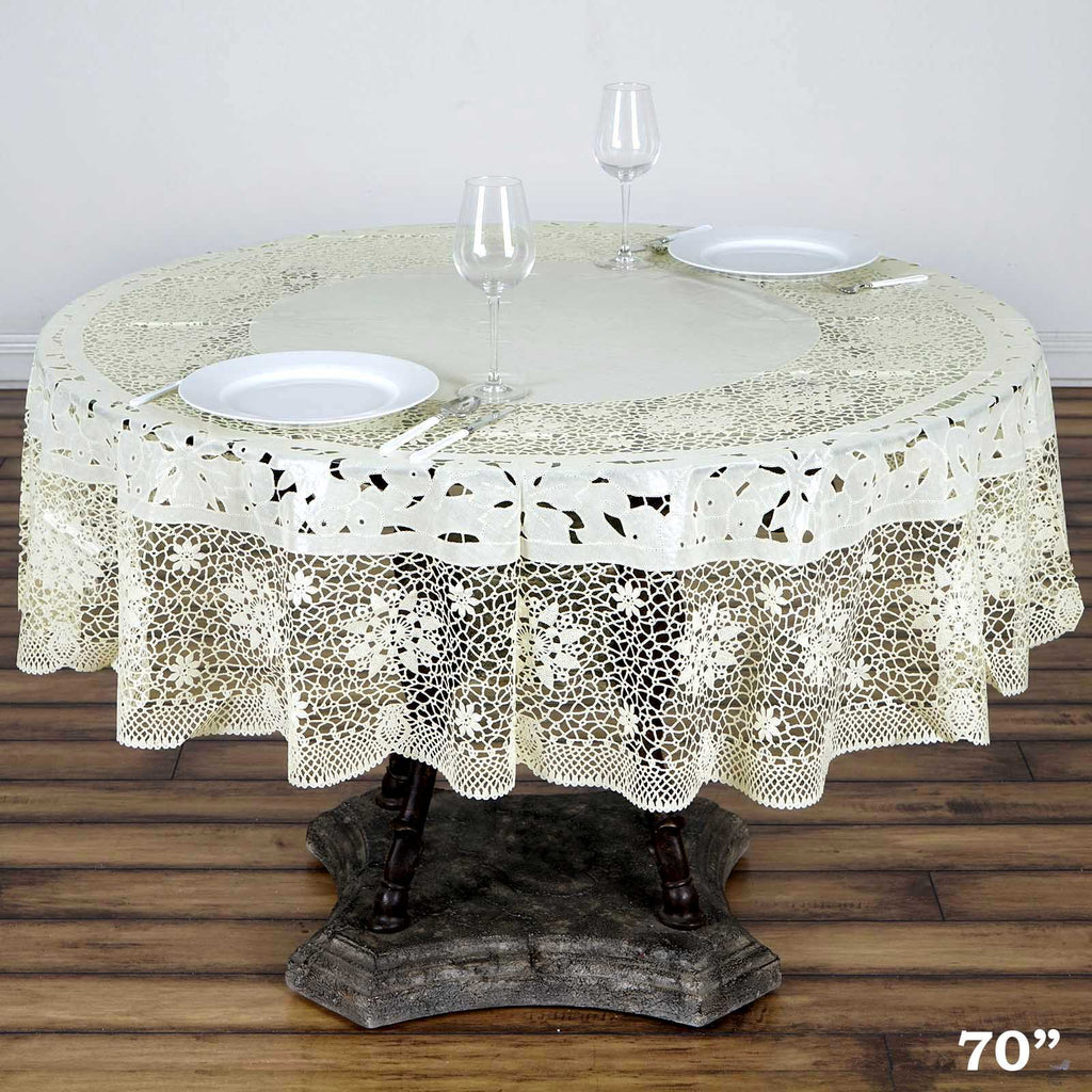 70 Quot Ivory 0 6 Mil Thick Lace Vinyl Eco Friendly Round