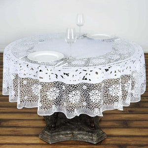 "70"" White 10 Mil Thick Lace Vinyl Waterproof Tablecloth PVC Round Disposable Tablecloth"