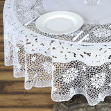 "70"" White 0.6 mil Thick Lace Vinyl Eco-Friendly Round Tablecloth Protector Cover"