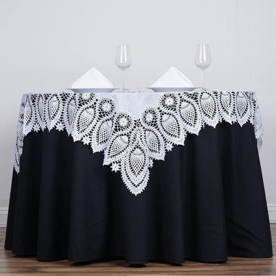 "54""x54"" Eco-Friendly White 0.6mil Thick Disposable Waterproof Square Vinyl Tablecloth Overlay Protector Cover"