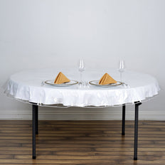 "70"" Clear 10 Mil Thick Eco-friendly Vinyl Waterproof Tablecloth PVC Round Disposable Tablecloth"