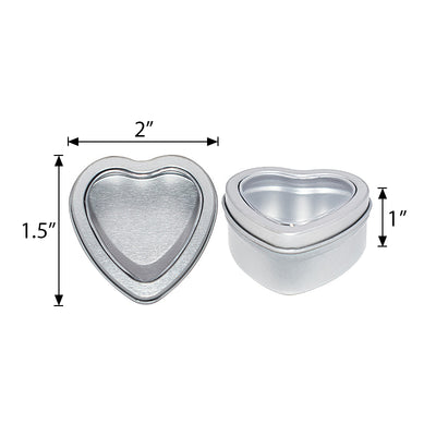 10 Pack | Silver Heart Shaped Window Tin Favor Boxes