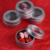 10 Pack | Silver Round Mint Tin Favor Boxes | Clear Top Candy Tin Party Favors
