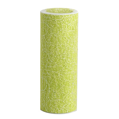 "6""x10 Yards Apple Green Elaborate Design Glitter Organza Tulle Fabric Rolls - Clearance SALE"