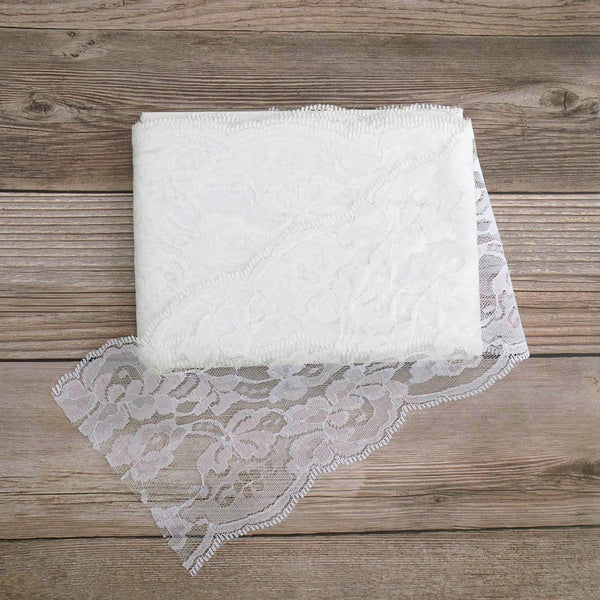 "5"" x 10 Yards Ivory Lace Pattern Tulle Fabric Rolls"