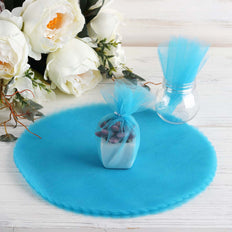 "25 Pack | 12"" Turquoise Scalloped Tulle Organza Circles for Wedding Favours"