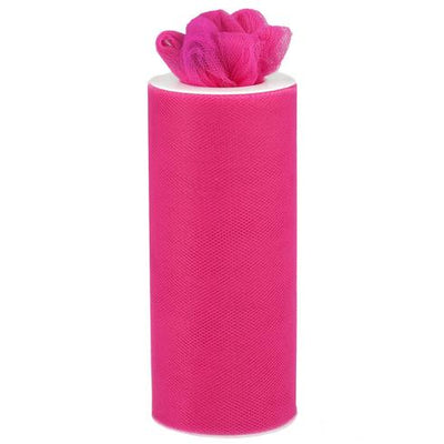 "6""x25 Yards Fushia Tulle Fabric Bolt"
