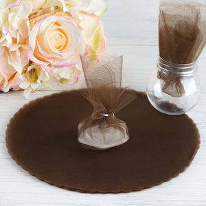 9 Inch | Sheer Nylon Fabric | Chocolate Scalloped Tulle Circles | TableclothsFactory