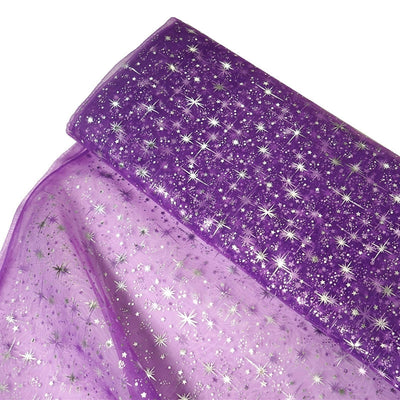 "54""x15 Yards Purple Organza Tulle Fabric Bolt With Hot Foil Stamped Star Design"