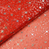 "54""x15 Yards Red Organza Tulle Fabric Bolt With Hot Foil Stamped Star Design"