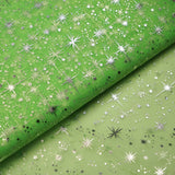 "54""x15 Yards Tea Green Organza Tulle Fabric Bolt With Hot Foil Stamped Star Design"