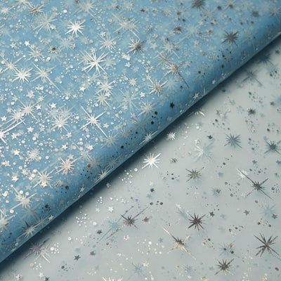 "54""x15 Yards Serenity Blue Organza Tulle Fabric Bolt With Hot Foil Stamped Star Design"