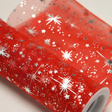 6x10 Yards Red Organza Tulle Fabric Bolt With Hot Foil Stamped Star Design